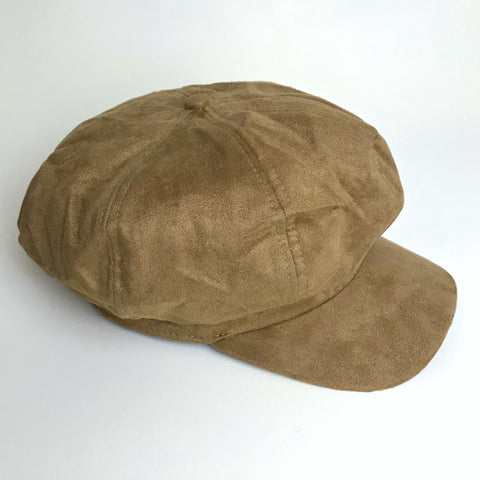 Faux Suede Baker Boy Hat