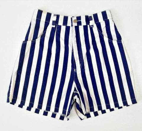 Vintage Blue & White Stripe Denim Shorts (8-10)