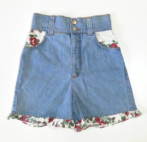 Vintage Floral Frill Denim Shorts (6-8)