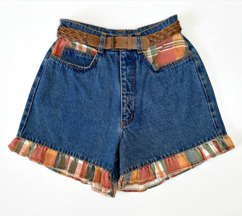 Vintage Check Frill Denim Shorts (8)