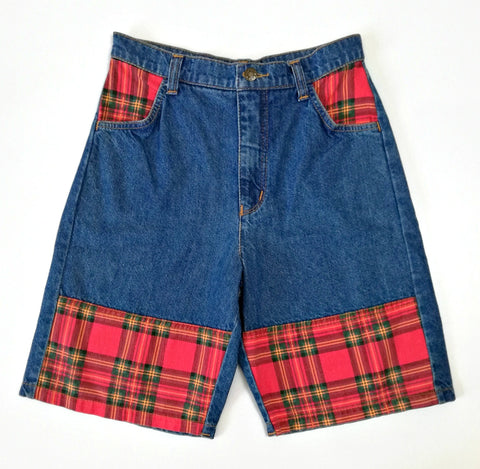 Vintage Plaid Denim Shorts (8-10)