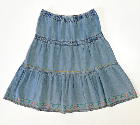 Vintage Embroidered Denim Skirt (6-8)