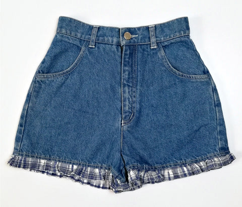 Vintage Check Trim Denim Shorts (26-28)