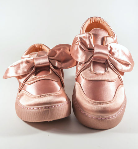 Pink Satin Bow Sneakers