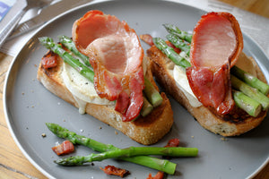 Smoked Bacon on Asparagus and Goats Cheese on Ciabatta Loaf