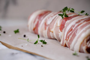 Gills Pork Tenderloin, wrapped in streaky bacon with pork & apple stuffing