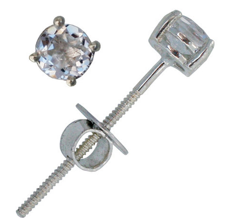 White Topaz Screwback Extra long Post Earring