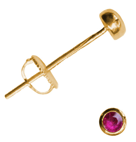 14kt Gold Ruby Extra Long Post Earrings