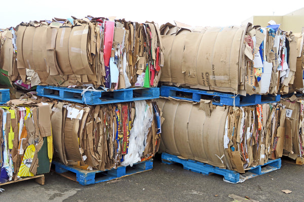 baled cardboard waste