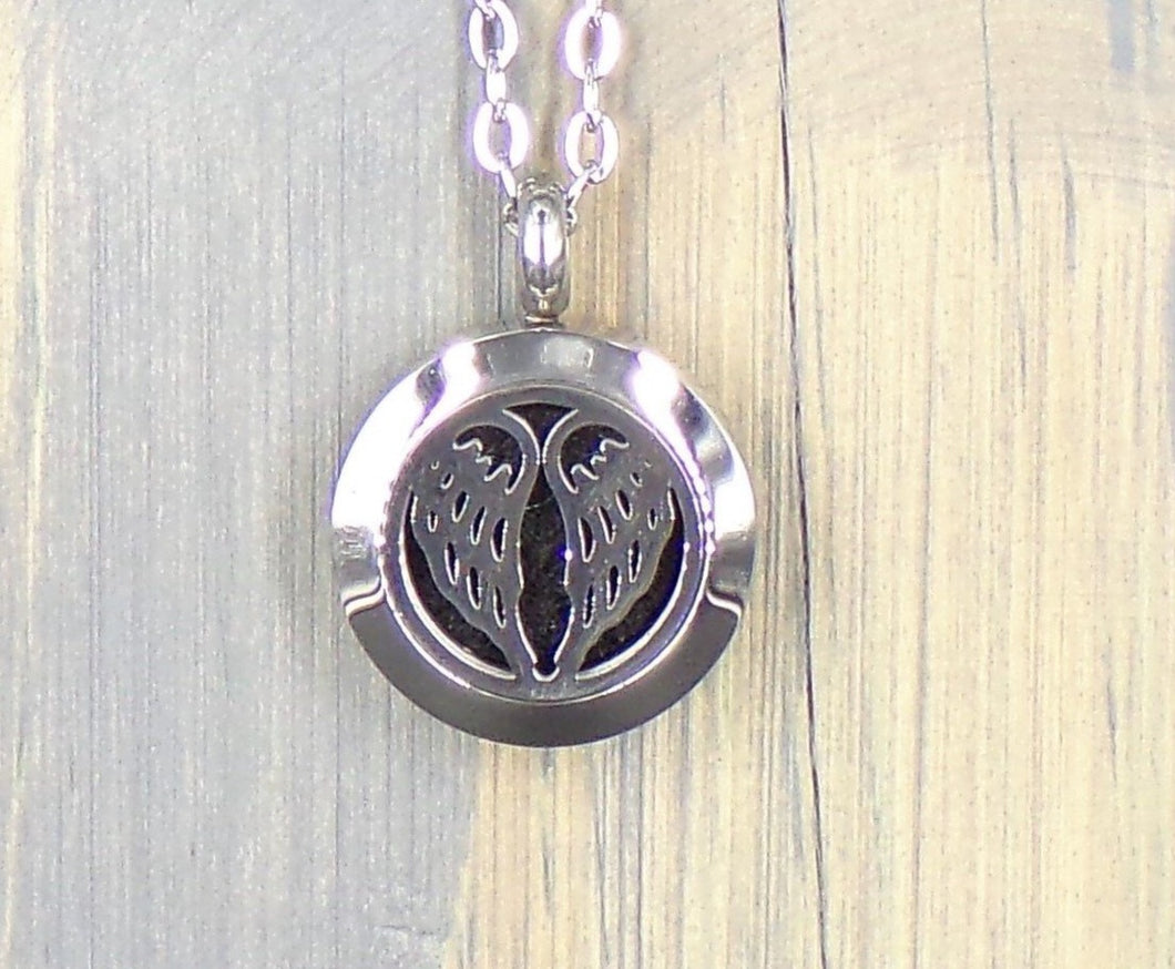 Angel Wings Stainless Diffuser Necklace