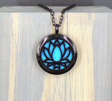Lotus Black Stainless Diffuser Necklace