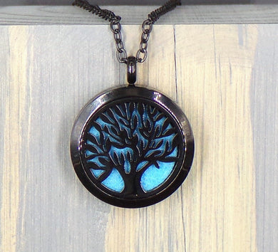 Black Tree Of Life Stainless Diffuser Necklace