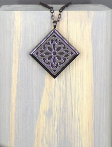 Snow Flake Dark Stainless Diffuser Necklace