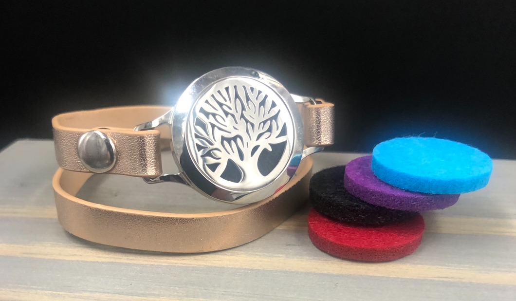 Tree Of Life Stainless Leather Wrap Diffuser Bracelet