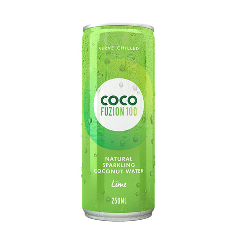 Coco Fuzion 100 Lime Flavoured Sparkling Coconut Water, 250 ml (Pack of 12)