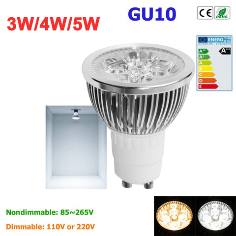 1pcs Super Bright 3W 4W 5W GU10 LED Bulbs Light 110V 220V Dimmable Led Spotlights warm/ cold white Natural White lamps