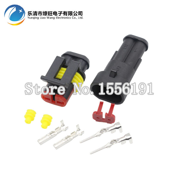 10 Sets 2 Pin AMP 1.5 Connector,DJ7021-1.5 Waterproof Electrical Wire Connector Plug,Xenon lamp connector Automobile Connector