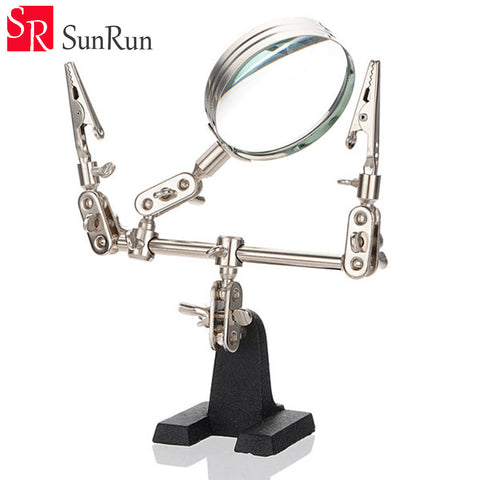 MG16129 5X Third Hand Soldering Iron Stand Helping Clamp Vise Clip Tool Magnifying Glass wholesale Electronic Appliance Repair