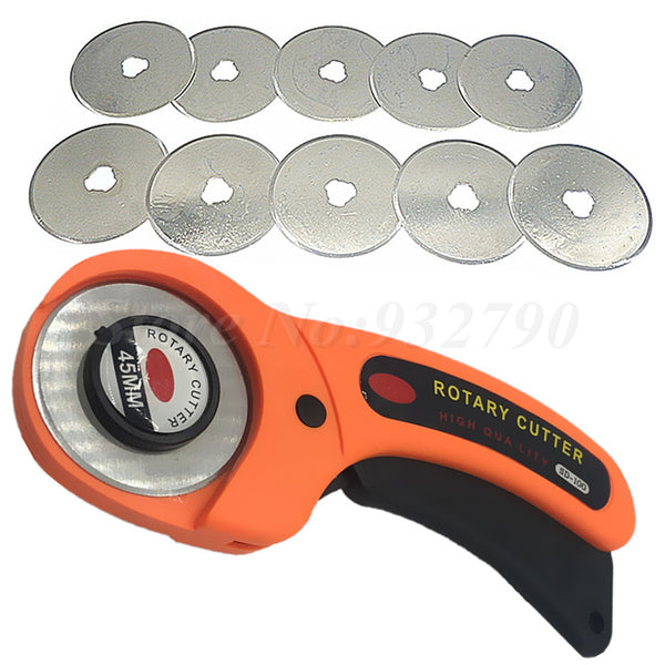 10pc 45mm Rotary Cutter Blades Replacement Fit Olfa/Dafa Fiskars + 45mm Rotary Cutter Patchwork Fabric Leather Craft Sewing Tool