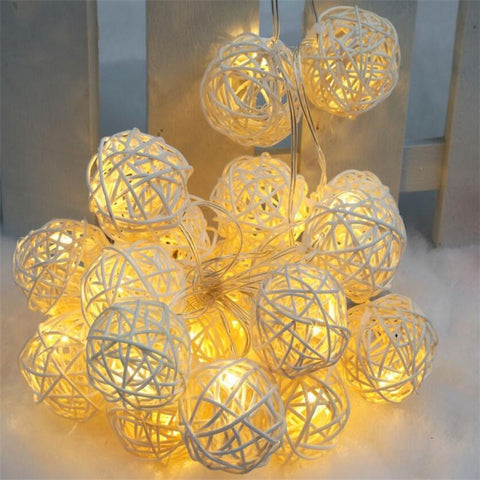 4m 20 Rattan Ball Led string light night warm Christmas Xmas lantern Wedding Garland decor curtain Decoration lights fairy lamps