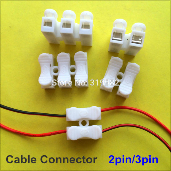 10 pcs 2pin 3pin Spring Cable Clip self lock press push quick 2P 3P Wire clip connector Wiring Terminal for car led strip lamp