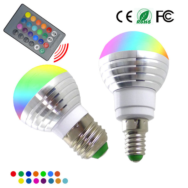E14 E27 RGB LED Bulb 5W 16 Color Changeable Lamp LED Spotlight+IR Remote Control AC85-265V Holiday Lighting bombillas led