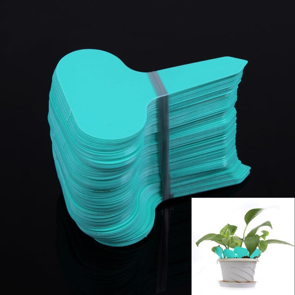 100Pcs T-type Plant Labels Plastic Nursery Garden Flower Thick Tag Marker Plant Labels Garden Ornaments Green