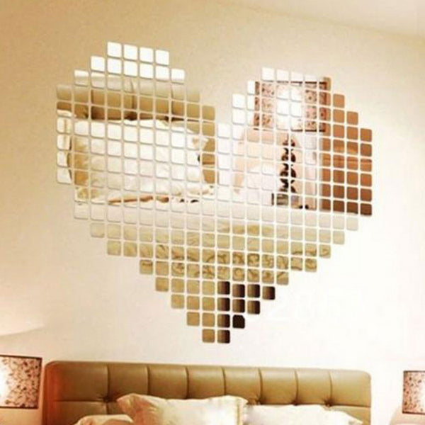 100 Pieces Mirror Tile Popular DIY Wall Sticker 3D Decal Mosaic House Home Room Decoration Stick For Modern Rooms Free Shipping