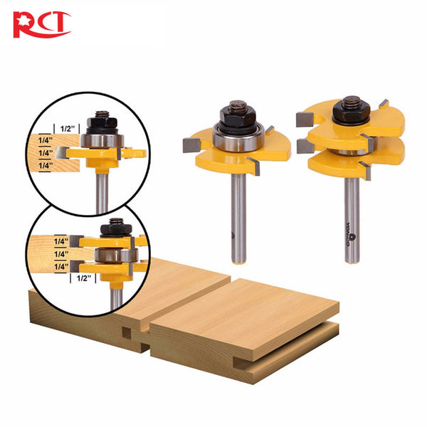 "1/4"" Shank 2 Bit Tongue and Groove Router Bit Set"