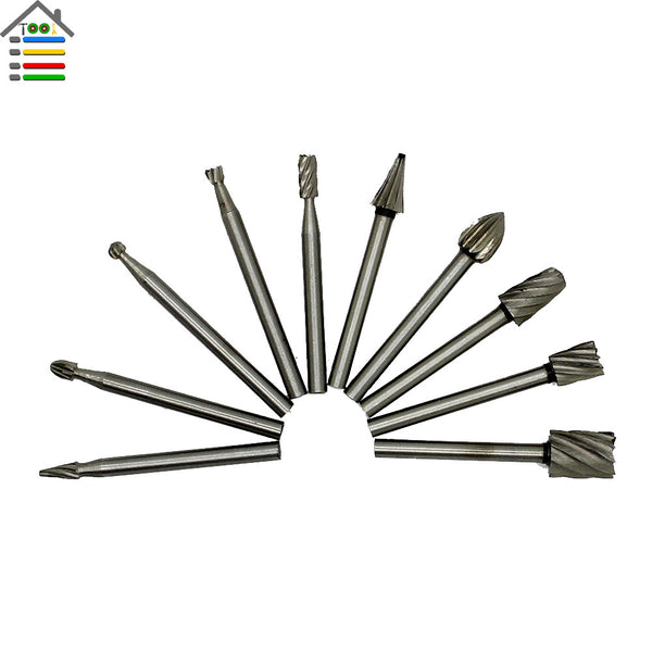 10pc HSS Routing Router Grinding Bits Burr File Set Fits Engraving Wood Rotary Tool For Milling Cutter 1/8 inch Shank