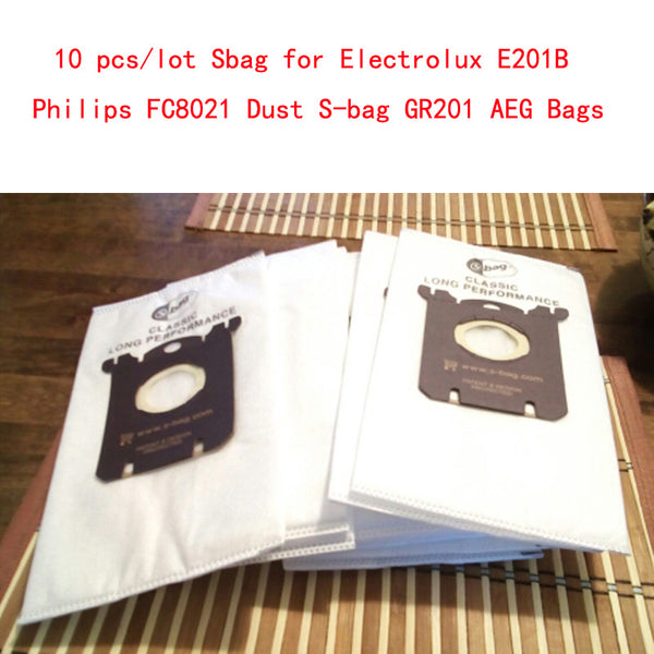 10 pcs/lot Sbag for Electrolux E201B Philips FC8021 Dust S-bag GR201 AEG Bags