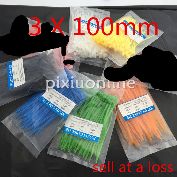 100Pcs/pack DS110 3*100mm Colorful Factory Standard Self-locking Plastic Nylon Cable Ties Wire Zip Tie Free Shipping Russia