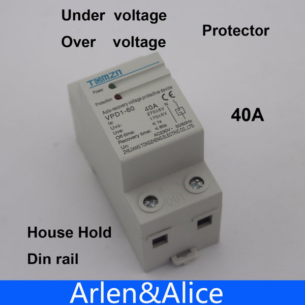 1 pcs 40A 230V Din rail automatic recovery reconnect over voltage and under voltage protective device protection relay