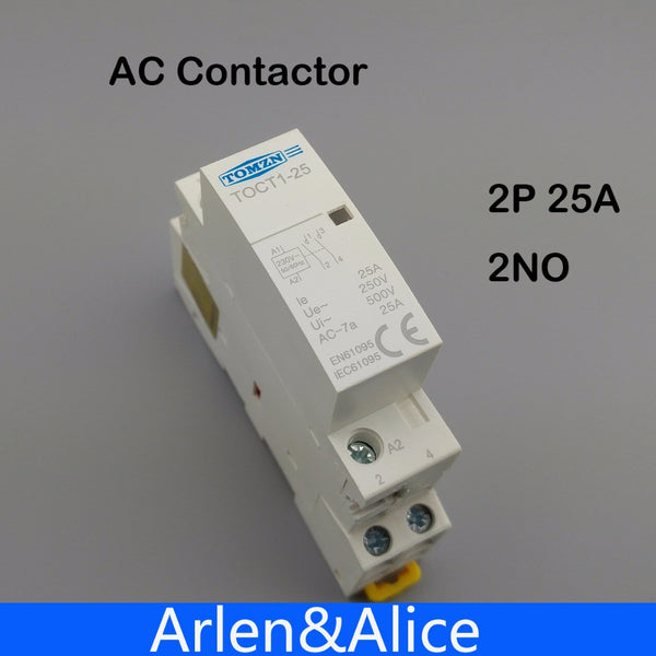 1 pcs TOCT1 2P 25A 220V/230V 50/60HZ Din rail Household ac contactor  2NO