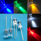 100Pcs F5 5mm Round White Red Green Blue Yellow Pink Water Clear Led Super Bright Ligte Emitting Diode 20000mcd 6000-6500k Lamp