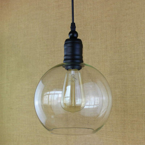 Antique retro copper Hanging clear glass shade Pendant Lamp with Edison LED Light bulb Kitchen Lights and Cabinet Lights E27