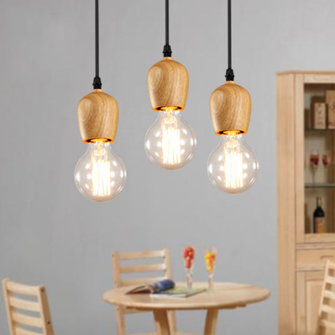 Modern Wood Pendant Lights Vintage Cord Pendant Lamp Hanging Lamp Kitchen Light Fixture Black Wire Suspension luminaire