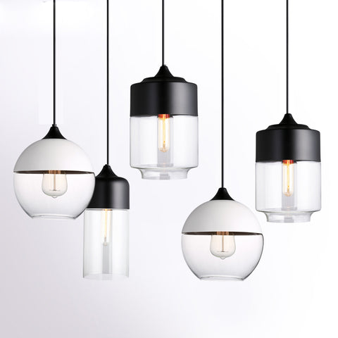 Modern Industrial Edison Vintage Style Pendant Light Kitchen Hanging Lamp Lighting Fixture with Glass Shade Ceiling Mounted