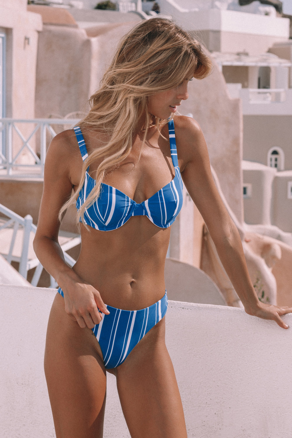 Florina Bikini Top - Navy Stripes