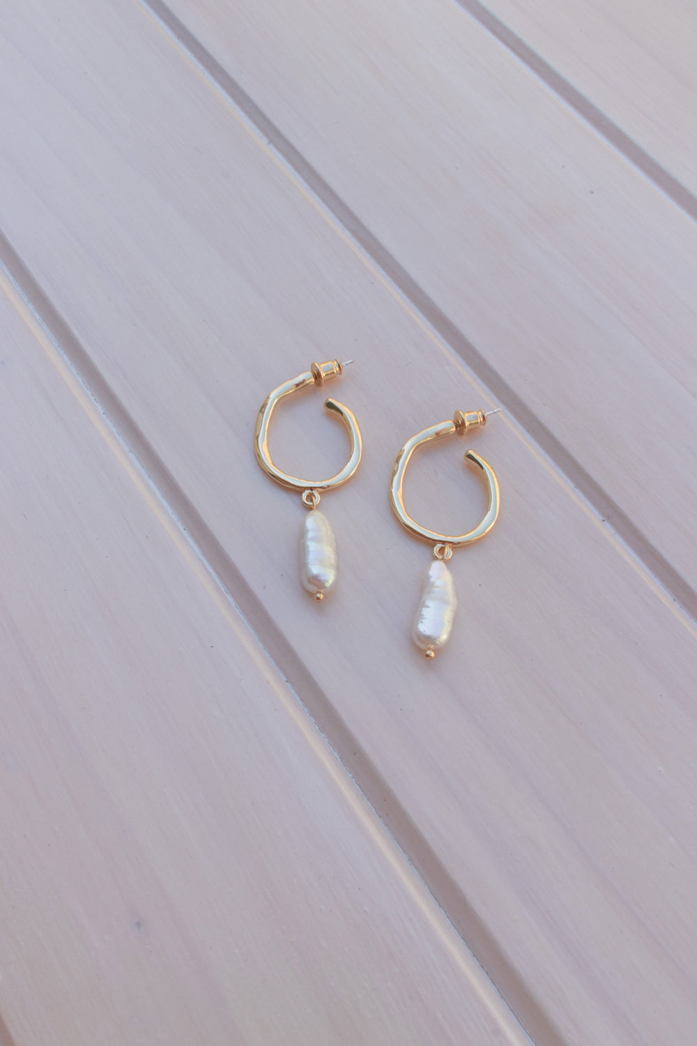 Lucy Pearl Hoop Earrings