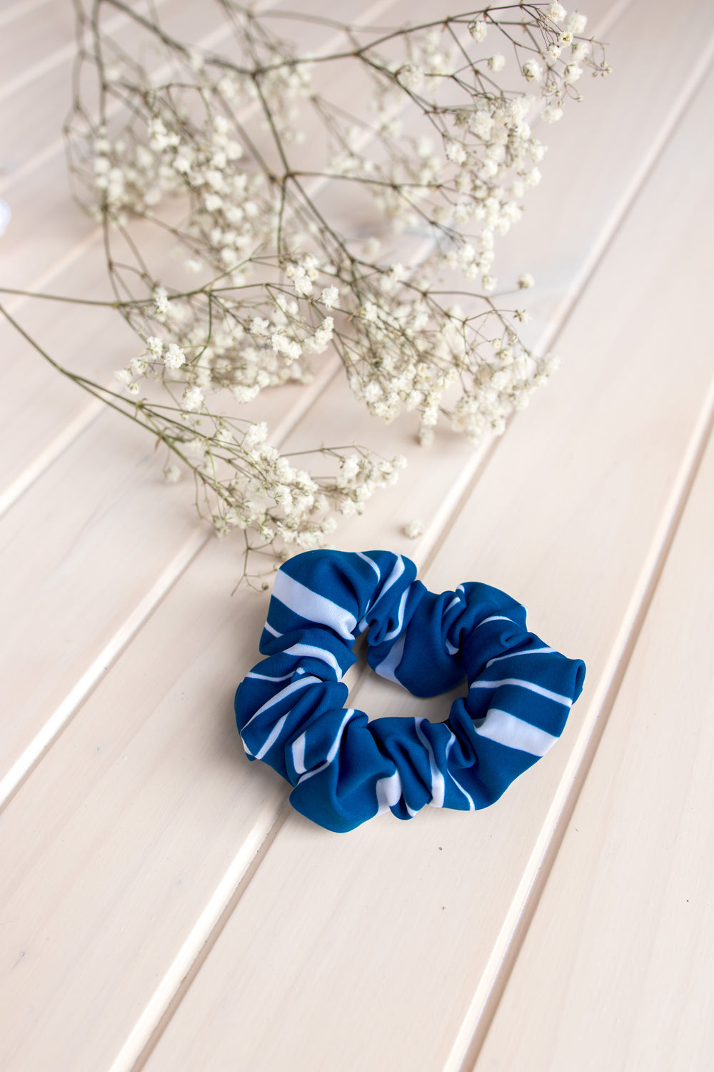 Scrunchie Hair Tie - Navy Stripes