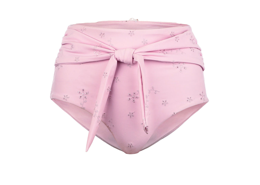 Beau High-Waist Bottoms - Blush Embroidery
