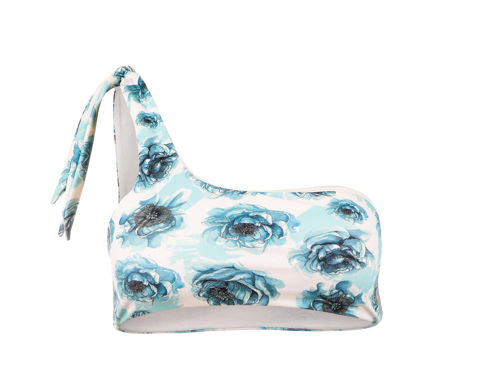 Coco One-Shoulder Top - Blue Floral
