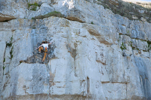 Pongoose blog - Louis climbing Breathing Method 8a in Portland, Dorset