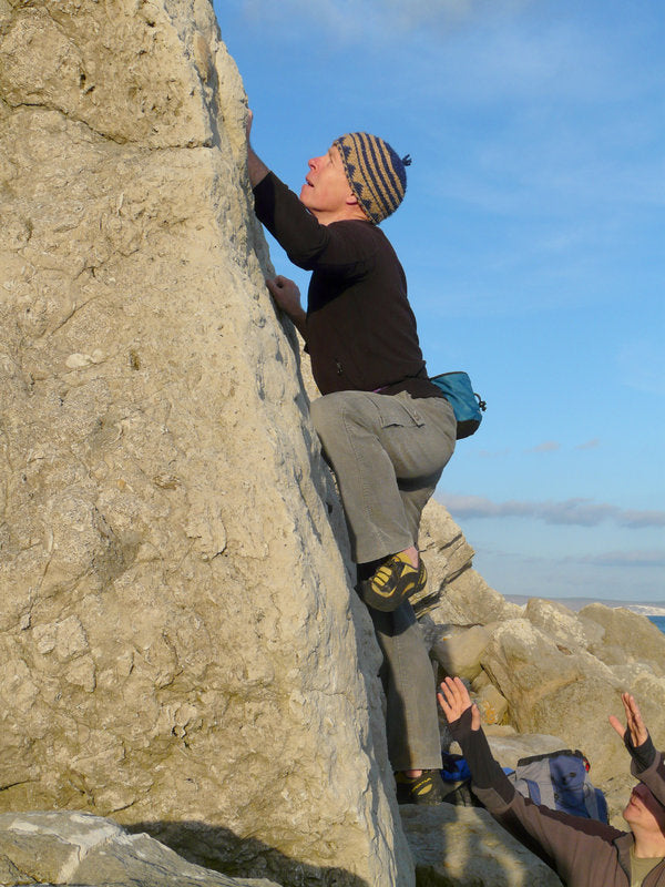 Pongoose blog image of Mick Ward doing the first ascent of White Tower at Portland