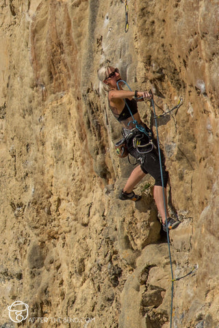 Pongoose blog - climbing with Crohn's image of climber on 7b at Portland