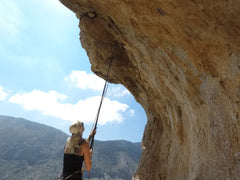 Pongoose blog - image of climber using Pongoose clipstick in Kalymnos
