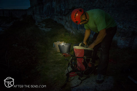 Pongoose blog - night image of person bolting sport climbing routes
