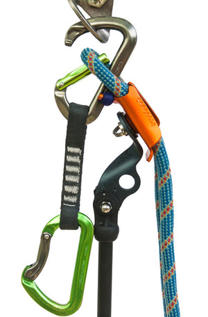 Photo of orange Pongoose Climber 700 using climbing rope to hold carabiner gate open to retrieve a quickdraw from a route.