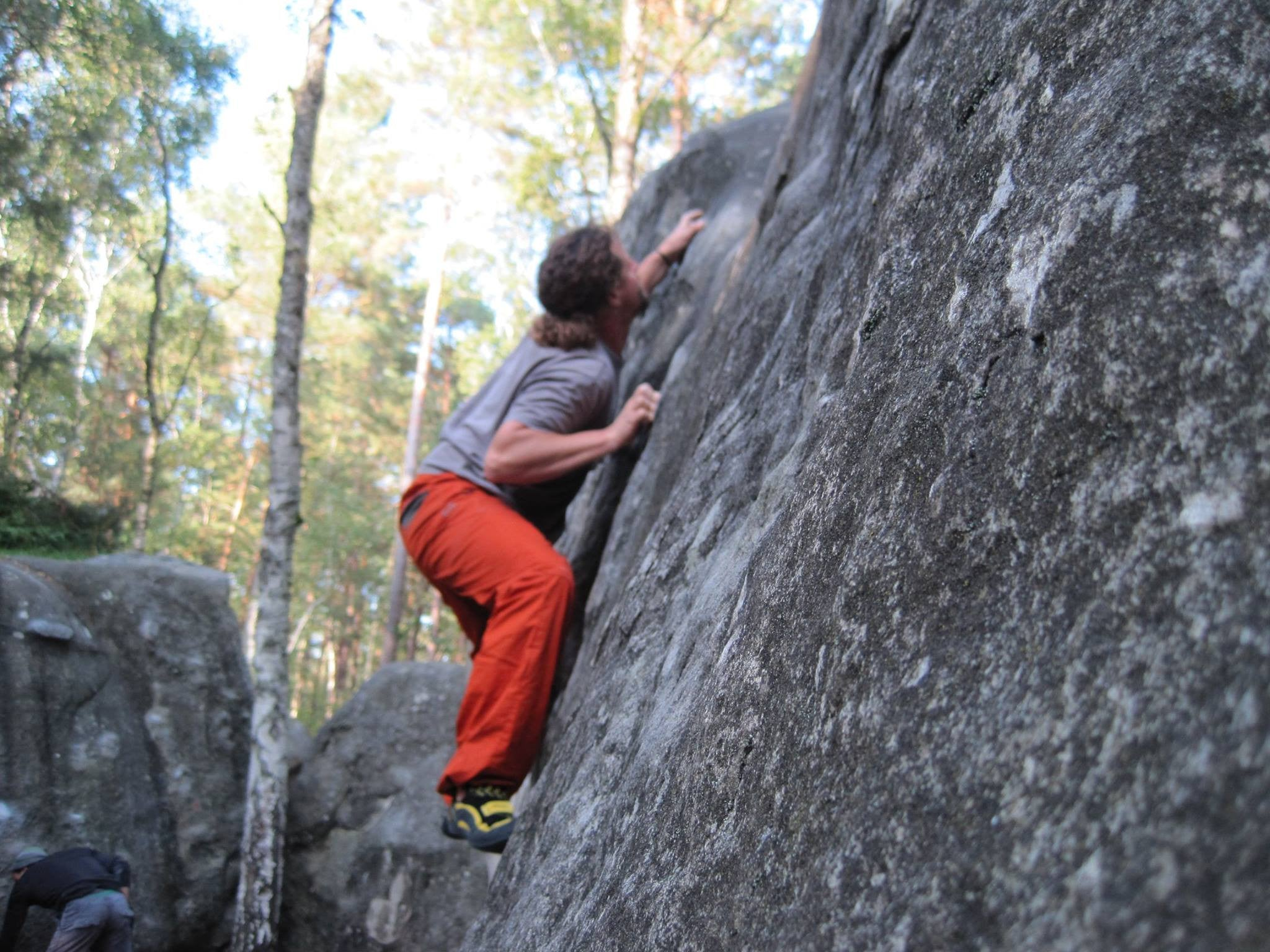 Pongoose founder Rob Rendall bouldering at Fontainebleau, France.